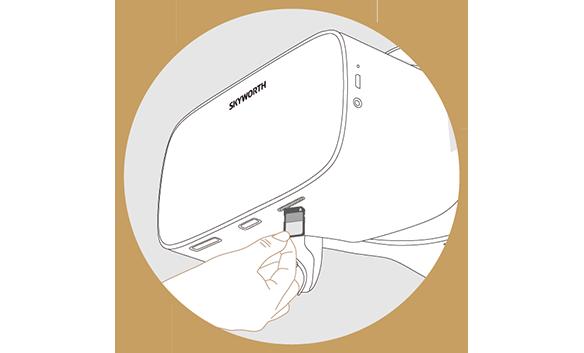 SKYWORTH-4DにSDカードを挿入している図